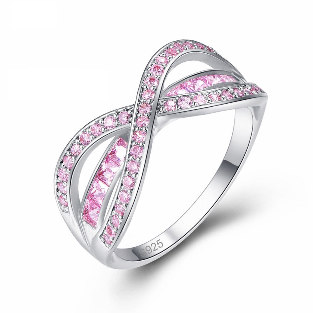 Crystal Infinity Line Breast Cancer Awareness Ring