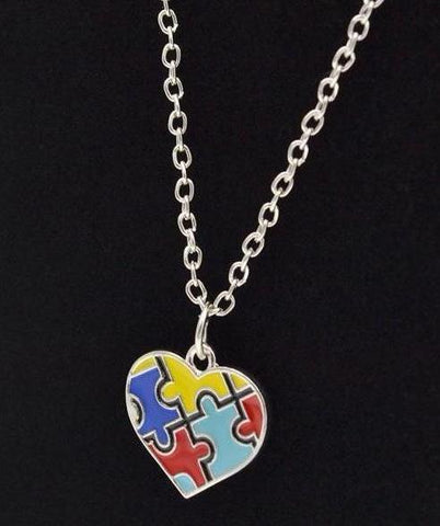 Autism Heart Puzzle Necklace