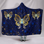Blue Rose Damask Butterfly Hooded Blanket