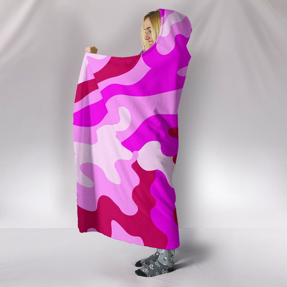 Pink Camouflage Plush Lined Wearable Hooded Blanket