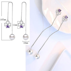 Pancreatic Cancer Awareness Purple Crystal Earrings