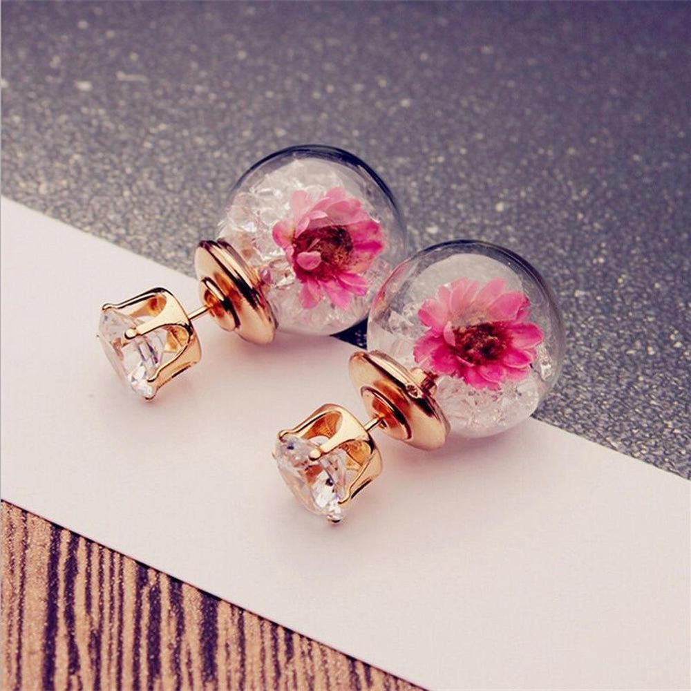 Lung Cancer Awareness Floral Screw Back Stud Earrings