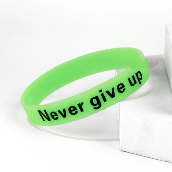 "Mental Health Awareness Luminous ""Never Give Up"" Silicone Bangle"