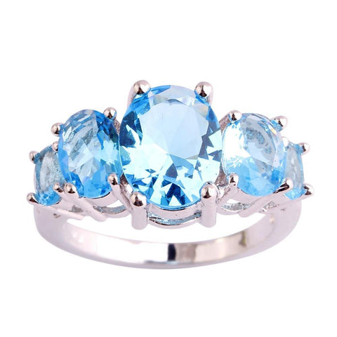 Five Gem Police Blue Ring