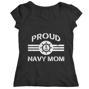 Proud Navy Mom (Black) Shirt/Tank/Hoodie