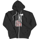 Firefighter Axe Flag Zipper Hoodie