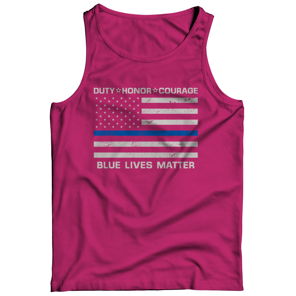 Limited Edition - Duty Honor Courage Blue Lives Matter Tank Top