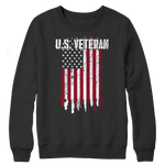 Us Veteran Flag Crewneck Fleece