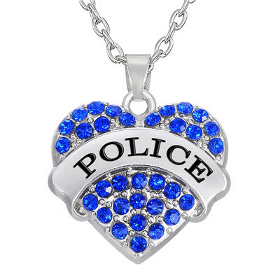 Crystal Heart Police Necklace