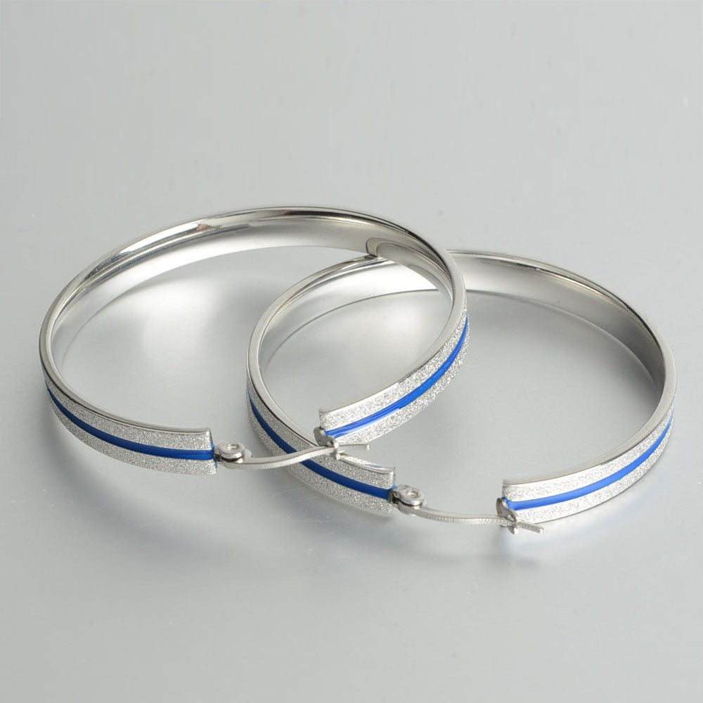 Blue Line Police Hoop Earrings