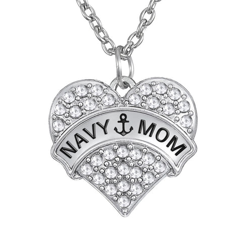 Navy Military Mom Crystal Heart Necklace