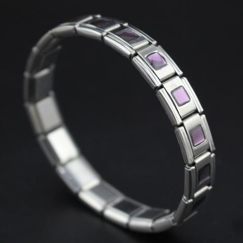 Purple Geometric Stainless Steel Bracelet