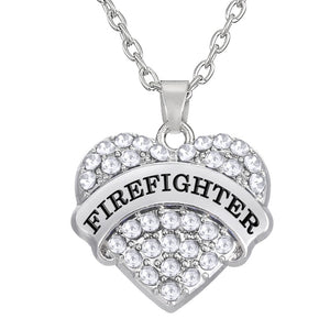 Firefighter Crystal Heart Necklace