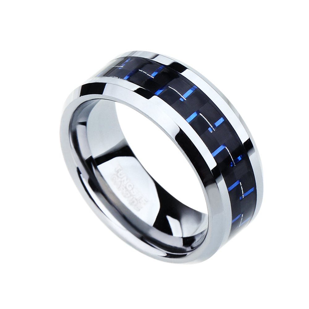 Blue Carbon Fiber Police Support Stainless Steel Ring