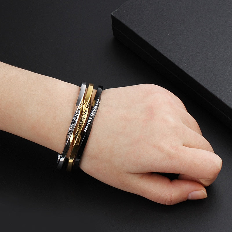 never give up Bangle Bracelet