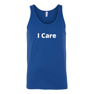 I Care Tank (Men/Women, White Text, Design 1)