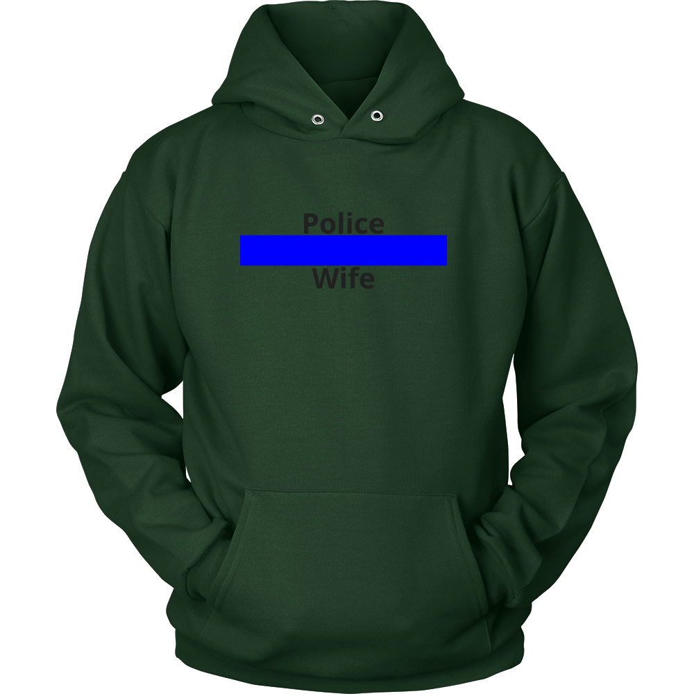 Blue Line Police Wife Sweatshirt/Hoodie (Black Text)