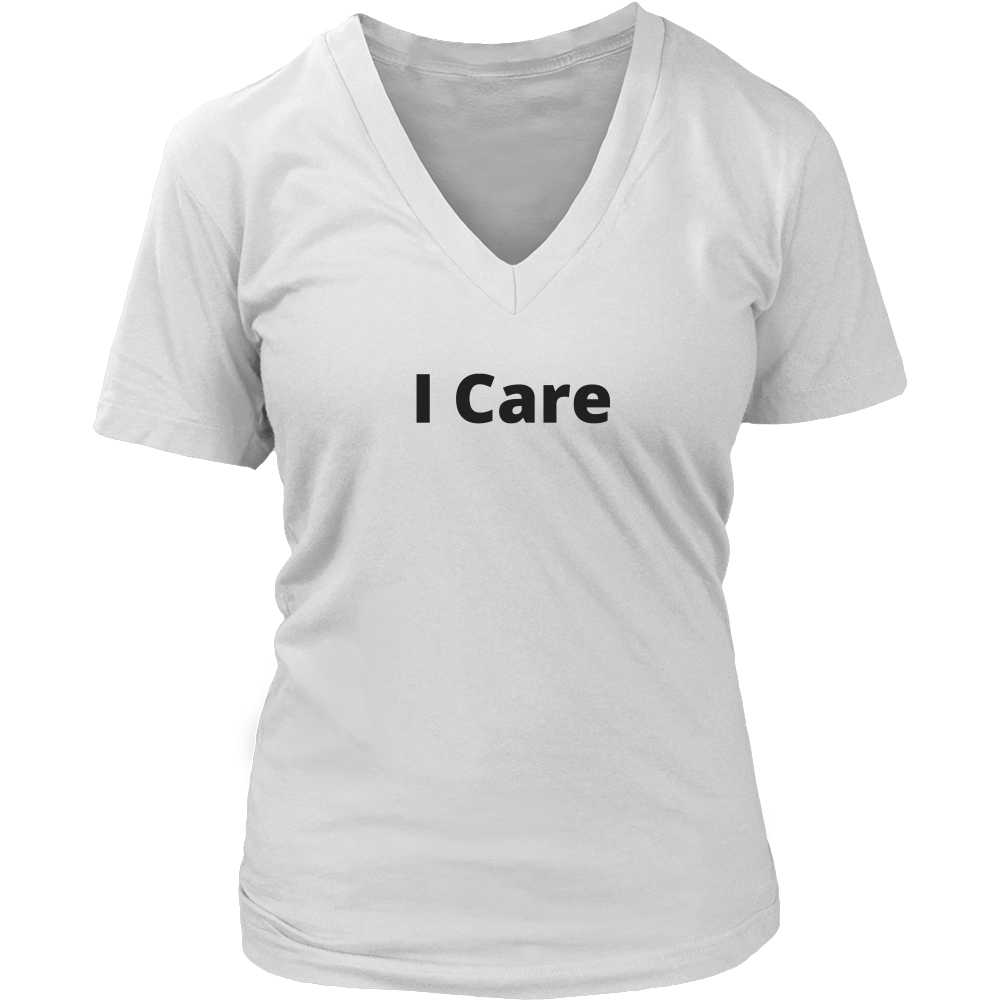 I Care Shirt (Men/Women, Black Text, Design 1)