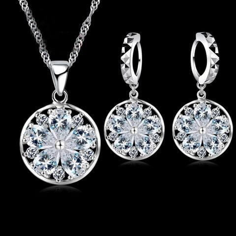 Elegant Snowflake Crystal Necklace and Earrings Set