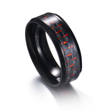 Red Carbon Fiber Marine Stainless Steel Ring