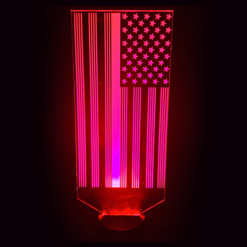 Firefighter Red Line Flag LED Lamp