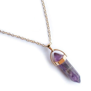 Domestic Violence Awareness Purple Stone Column Pendant Necklace