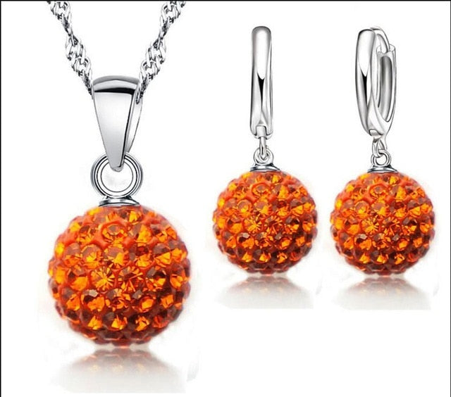 Multiple Sclerosis Awareness Rhinestone Disco Ball Necklace and Earrings Set