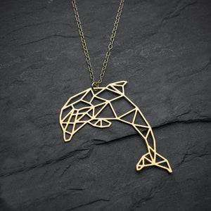 Geometric Dolphin Pendant Necklace