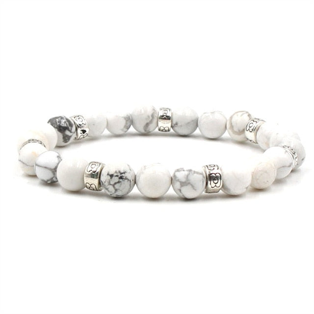 Lung Cancer Awareness Stone Beads Bracelet