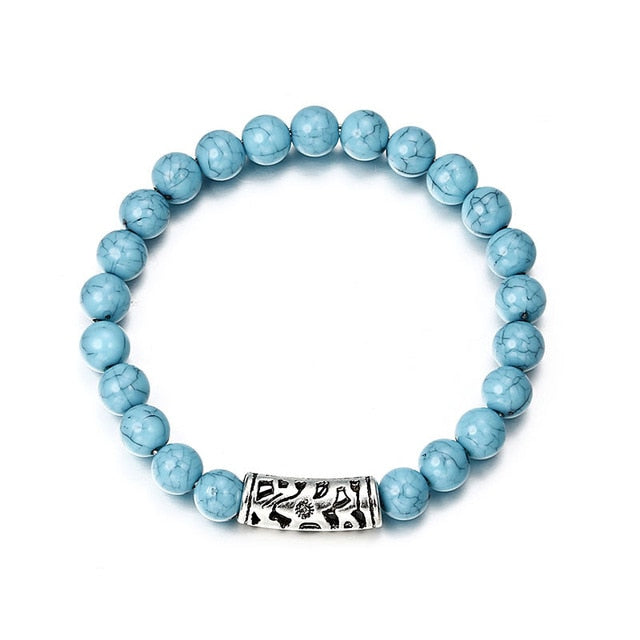 Light Blue Stone Beads Bracelet