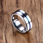 Blue Line Silver Stainless Steel Ring