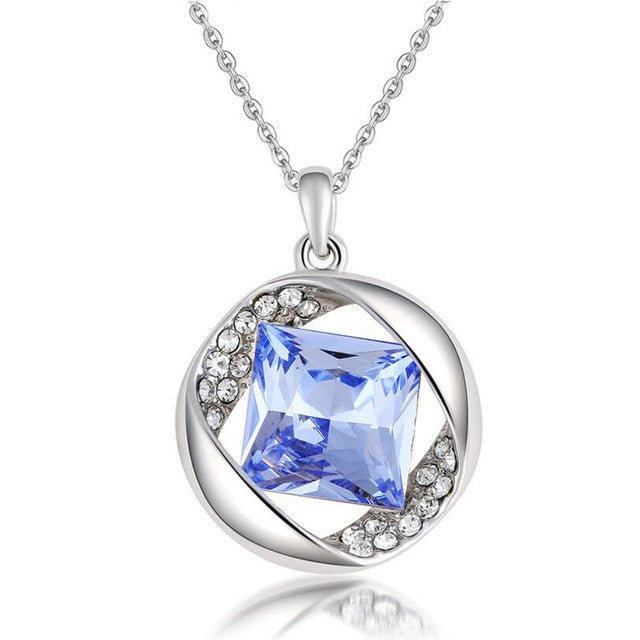 Princess Cut Gem Colon Cancer Awareness Necklace