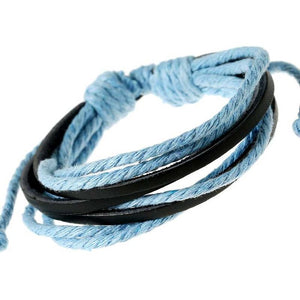 Adjustable Blue Rope Bracelet