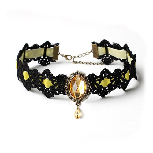 Bladder Cancer Awareness Gothic Yellow Lace Choker
