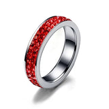 AIDS Awareness Red Crystal Skinny Stainless Steel Ring