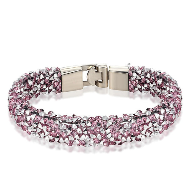 Breast Cancer Awareness Pink CZ Full Gemmed Bracelet