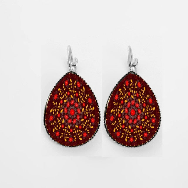 Floral Mandala Drop Earrings
