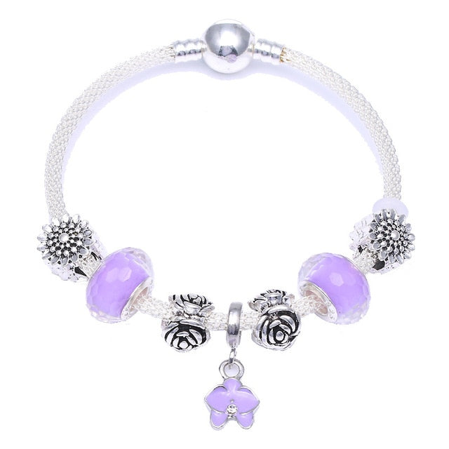 Motherhood Orchid Charm Bracelet