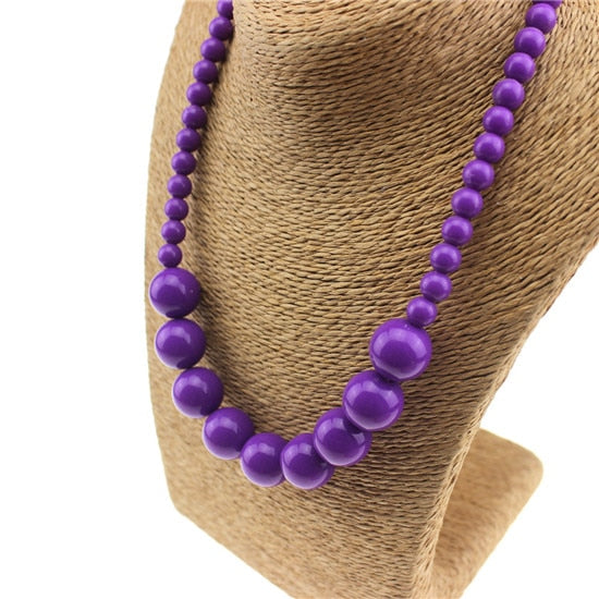Purple Charming Bead Necklace