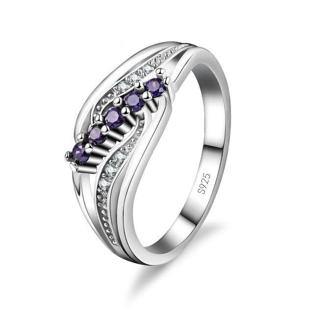 Domestic Violence Purple Crystal Gem Ring