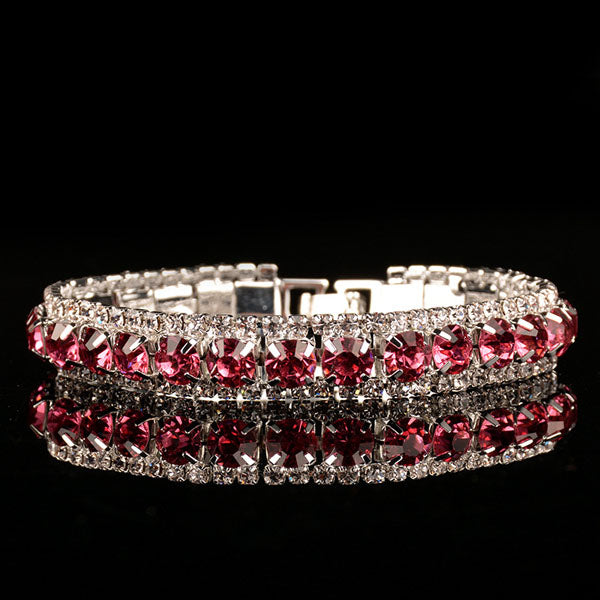 Double Crystal Lines HIV Awareness Bracelet