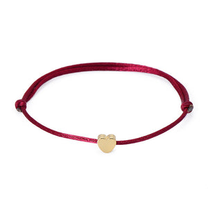 Burgundy Heart Rope Bracelet