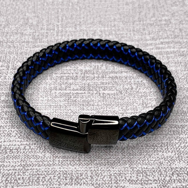 Police Officer Support Braided Leather Bracelet
