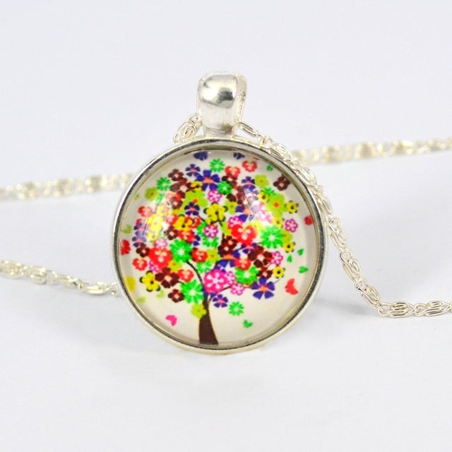 Colorful Tree Glass Cabochon Necklace