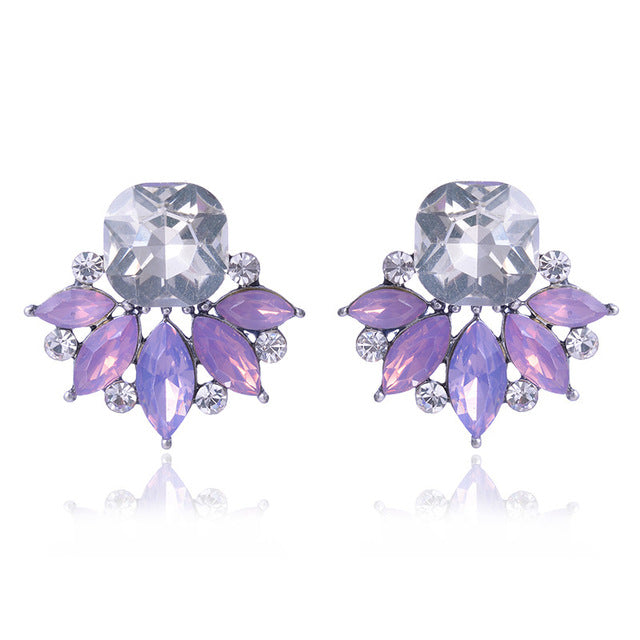 Purple Crystal Rhinestones Flower Earrings