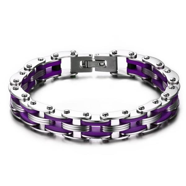 Suicide Awareness Purple Stainless Steel Link Chain Bracelet