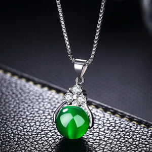 Lucious Anal Cancer Awareness Green Crystal Necklace