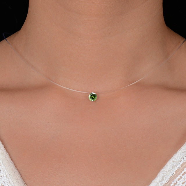 Anal Cancer Awareness Peridot Crystal Invisible Line Necklace