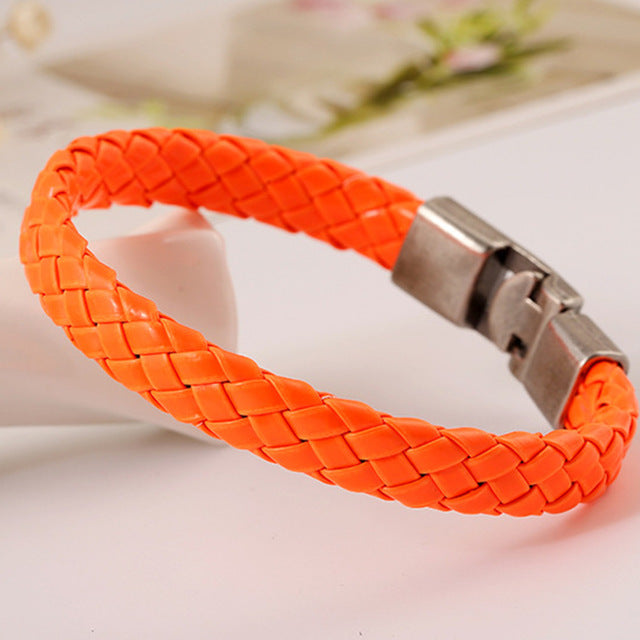 Kidney Cancer Awareness Handmade Orange Leather Bracelet