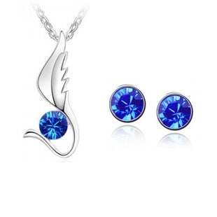 Winged Gem Colon Cancer Awareness Necklace and Earrings Set